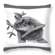 Little Brown Bat Throw Pillow