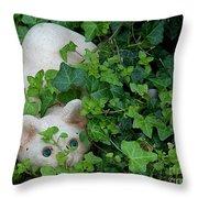 Little Cat Garden Sculpture Throw Pillow