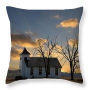 Little Church On The Prairie Throw Pillow