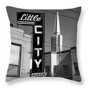 Little City Market North Beach San Francisco Bw Throw Pillow