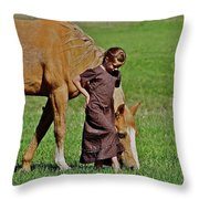Little Country Girl Throw Pillow