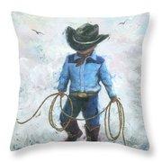 Little Cowboy Lasso Throw Pillow