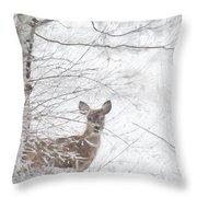 Little Doe In Snow Throw Pillow