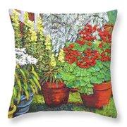 Little Flower Pot Garden Throw Pillow