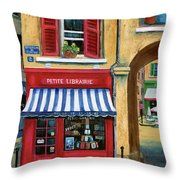 Little French Book Store Throw Pillow
