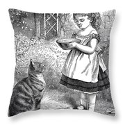 Little Girl Gives Her Cat Its Dinner Throw Pillow