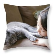 Little Girl Hanging Out With Her Scottish Fold Cat Throw Pillow