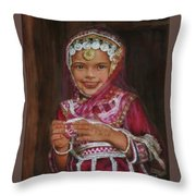 Little Girl In India Throw Pillow