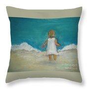 Little Girl Playing On Beach Throw Pillow