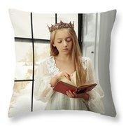 Little Girl Reading Book Throw Pillow