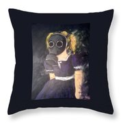 Little Girl Wear Gas Mask Throw Pillow