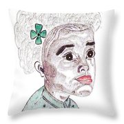 Little Girl With A Green Bow Throw Pillow