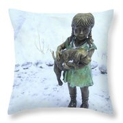 Little Girl With A Puppy In Her Arms. Throw Pillow