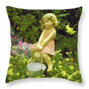 Little Girl With Pail Throw Pillow