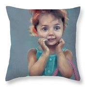 Little Girl With Purse Throw Pillow