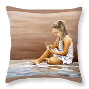 Little Girl With Sea Shell Throw Pillow