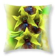 Little Green Apple Orchid On White Throw Pillow