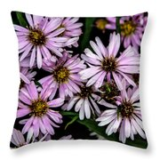 Little Green Bug Among The Flowers Throw Pillow