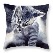 Little Grey Cat Throw Pillow