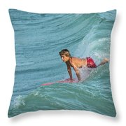 Little Guy Big Wave Throw Pillow