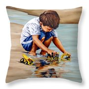 Little Guy Playing Throw Pillow