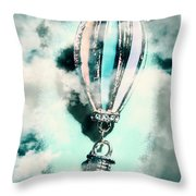 Little Hot Air Balloon Pendant And Clouds Throw Pillow