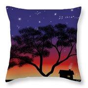 Little House At Sunset Throw Pillow