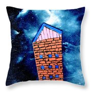 Little House In The Cosmos Throw Pillow