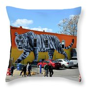 Little India In Jersey City-white Tiger Mural Throw Pillow