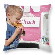 Little Kid With Food Throw Pillow