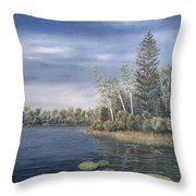 Little Lake In The Woods  Throw Pillow
