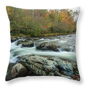 Little Pigeon River In Autumn In Smoky Mountains In Autumn Throw Pillow