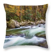 Little Pigeon River In Fall In The Smokies Throw Pillow