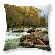 Little Pigeon River In The Greenbrier Section Of Smoky Mountains Throw Pillow
