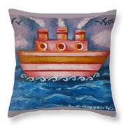 Little Pink Ship Throw Pillow
