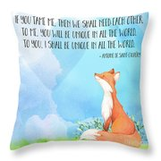 Little Prince Fox Quote, Text Art Throw Pillow