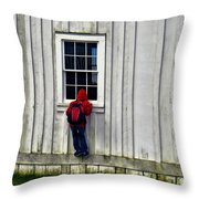 Little Red Peeping Tom Throw Pillow