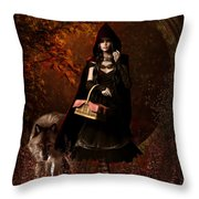 Little Red Riding Hood Gothic Throw Pillow
