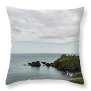 Little Red Sailboat Approaching Dunnottar Castle Scotland Throw Pillow