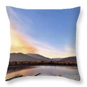 Little River In The Fall Throw Pillow