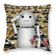 Little Robo-x9 Says Tanks Alot Throw Pillow