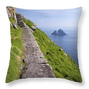 Little Skellig Island, From Skellig Michael, County Kerry Ireland Throw Pillow