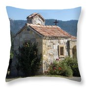 Little Stone Chapel In Vineyards Of Napa Valley Throw Pillow