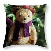 Little Sweet Teddy Bear With Knitted Scarf Under The Christmas Tree Throw Pillow