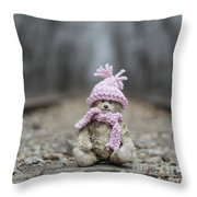 Little Teddy Bear Sitting In Knitted Scarf And Cap In The Winter Forest Between The Rails Throw Pillow