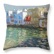 Little Venice Mykonos Throw Pillow