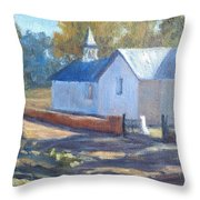 Little White Church In New Mexico Throw Pillow