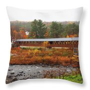 Littleton Nh Covered Bridge Throw Pillow