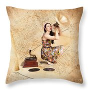 Live Music Pinup Singer Performing On Gig Guide Throw Pillow