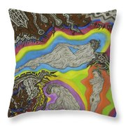 Live Nude 50 Female Throw Pillow
